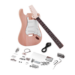 Muslady ST Style Unfinished DIY Electric Guitar Kit Mahogany Body Maple Guitar Neck Rosewood Fingerboard