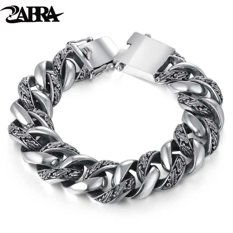 ZABRA Plant Totem Genuine 925 Silver Bracelets Punk Rock Vintage Heavy Sterling Silver Bracelet Men Luxury
