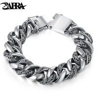 ZABRA завод Тотем подлинный 925 серебряные браслеты панк рок Винтаж тяжелый браслет из стерлингового серебра мужские роскошные мужские байкер
