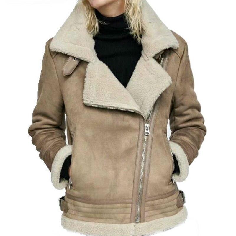 De Causalité Femmes Survêtement Pour 2019 Zipper Les Noir Manteau kaki Nouveau Flocage Hiver Solid Slim D'hiver Épais Veste Fourrure Agneau wXCn6