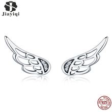 Jiayiqi Genuine 925 Sterling Silver Feather Fairy Wings Stud Earrings charm for Women Fashion Jewelry Christmas