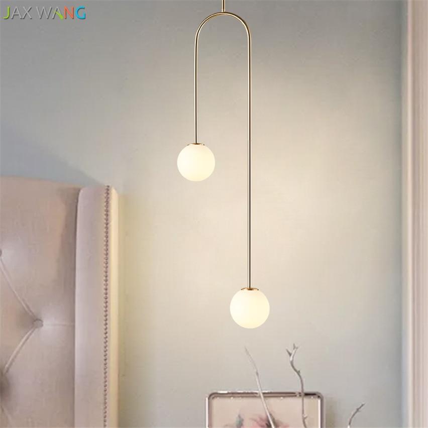 Nordic Bedroom Bedside U Shaped Hanging Pendant Lights Modern Lamps Dining Room Living Room Bar Led Glass Ball Warm De Fixtures|Pendant Lights| |  - title=