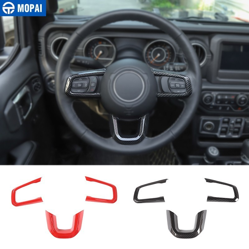 MOPAI Interior Mouldings for Jeep Wrangler JL 2018 Car Steering Wheel Decoration Cover for Jeep Wrangler
