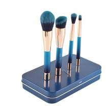 4Pcs/1set Blue Magnet Makeup brush Set cosmetics kit de pinceis de maquiagem make up brush Kit with Iron box(China)