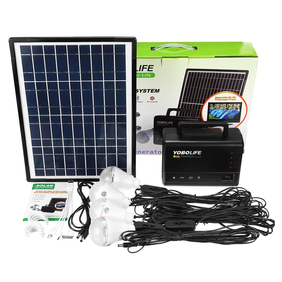 Lumière LED chargeur USB 18 W panneau solaire générateur de stockage d'énergie Kit de système domestique Rechargeable LED de mer batterie au plomb ABS + PC 10 V - 6