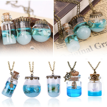 Retro Blue Sea Ocean Mini Glass Bottle Pendant Necklace Mermaid Tears Shells Star Boat Wish Vial Necklace Fashion Jewelry Gifts
