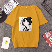 New Fashion T shirt Woman Spring Summer Girls Print Short Sleeve O Neck Cotton Women Top S