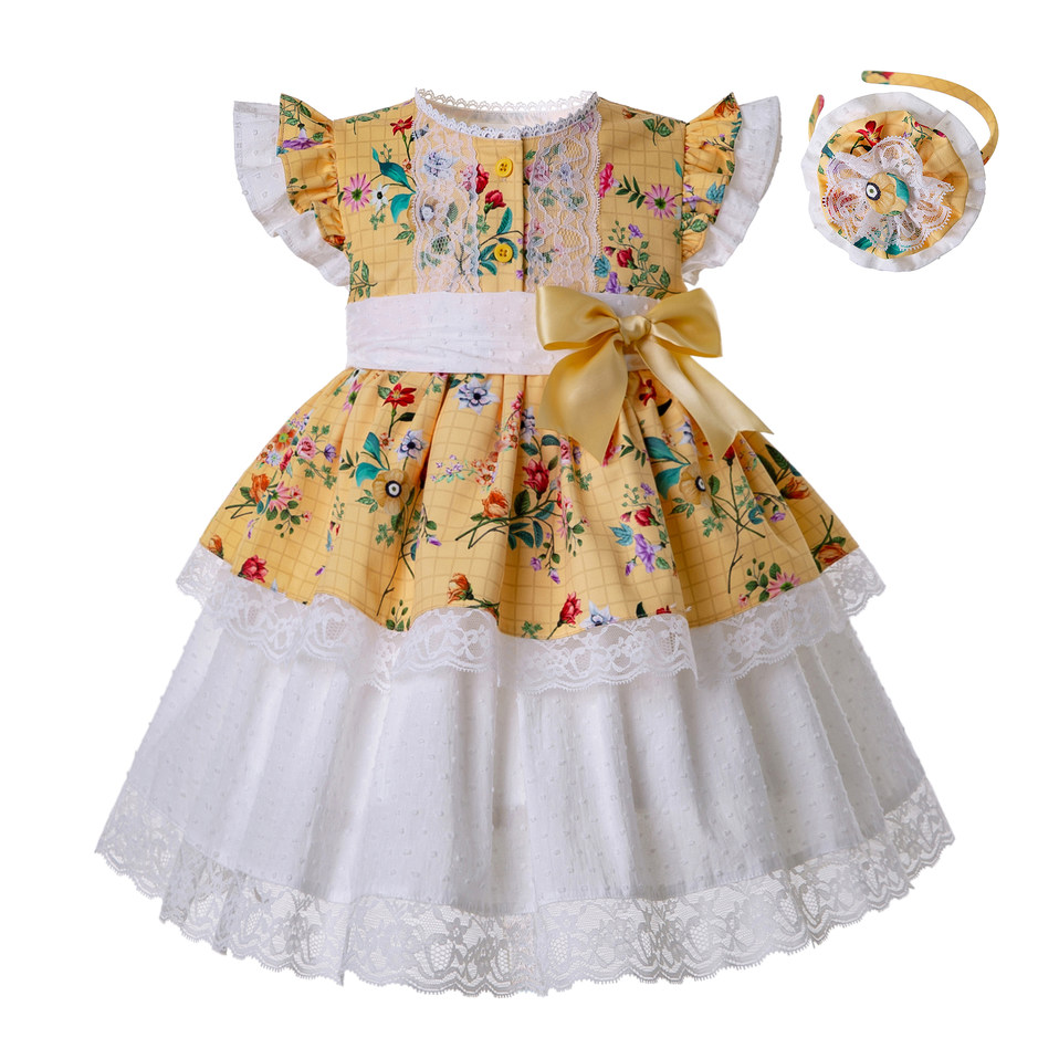 Pettigirl Yellow Girl Flower Printed Dress Heart shaped Hollow Boutique Baby Girl Clothes With Bows Headwear
