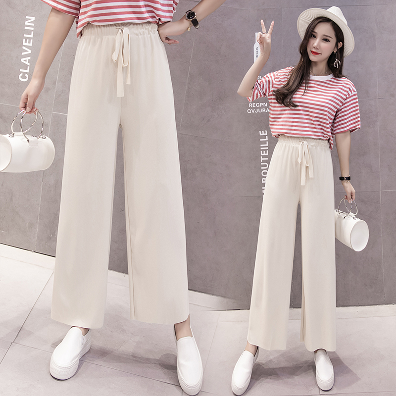 Women   Pants   2019 Spring Summer Fashion Female Casual Loose Solid Elasitc High Waist Elegant   Wide     Leg     Pant   Office Lady Trousers