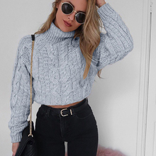 Women Long Sleeve Slim High Collar Vertical Lines Sweater Outwear Short Top