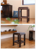 Japanese Antique Wooden Stool Chair Paulownia Wood Small Asian Traditional Furniture Living Room Portable Stand Stool
