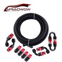 SPEEDWOW AN6 Aluminum Swivel 0/45/90/180 Degree Hose End Fitting 5 Meter PTFE Fuel Hose Line Oil Cooler Hose Adapter Kit