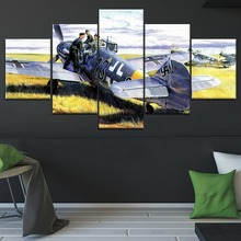 5 Panel Messerschmitt Bf 1 Military War Canvas Printed Painting For Living Room Wall Decor HD Picture Artworks Poster2
