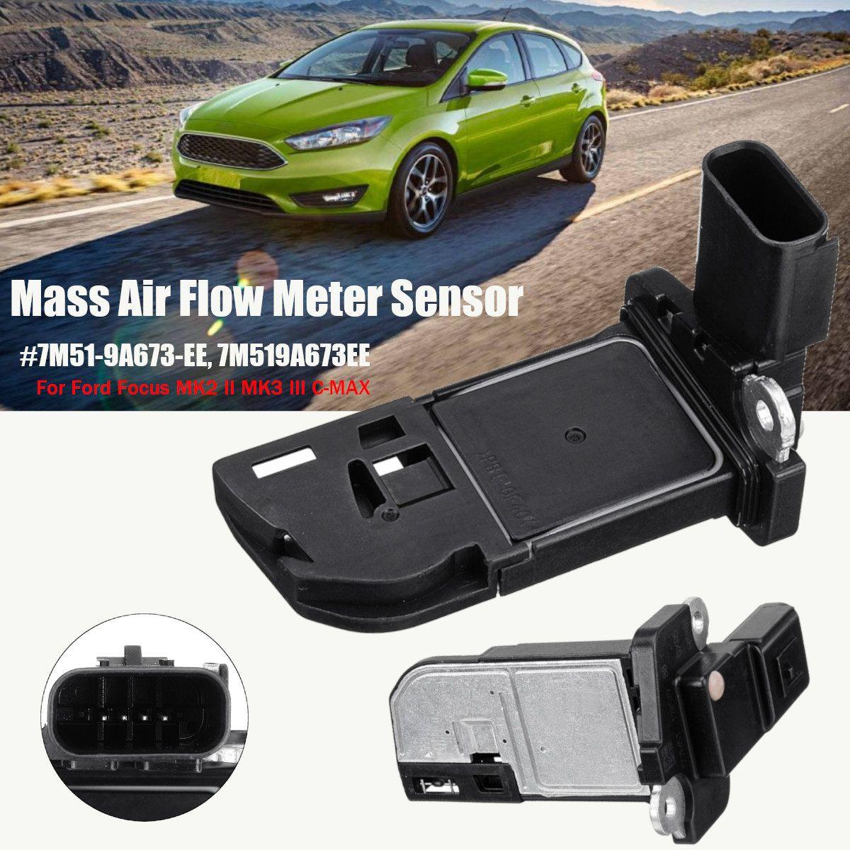 Otomobiller ve Motosikletler'ten Hava Akış Ölçer'de Kütle Hava Akış Ölçer Sensörü 7M51 9A673 EE/7M519A673EE/7M51 12B579 BB Ford Focus için MK2 II MK3 III C MAX 1.6 2.0 TDCI title=