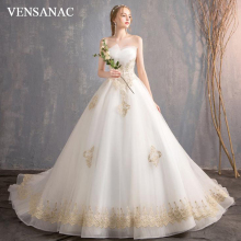 VENSANAC Pleat Strapless Ball Gown Lace Appliques Wedding Dresses Luxury Sequined Chapel Train Backless Bridal Gowns