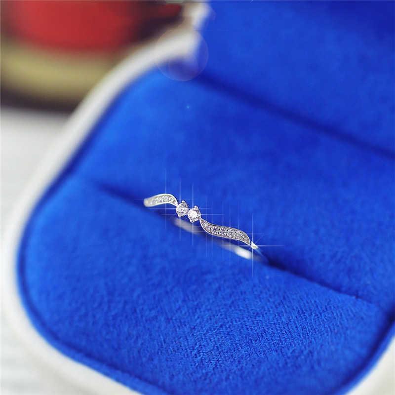 Cristal feuille anneaux pour femmes bijoux gothique argent anneaux pour femme bague de fiançailles bague de promesse de mariage pour les femmes cadeaux pour Lad