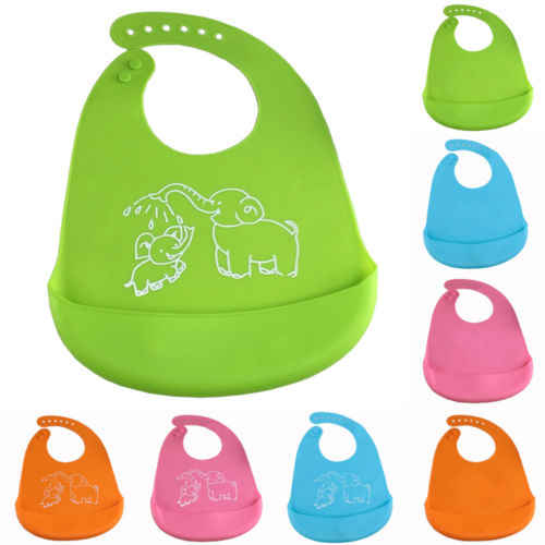 PUDCOCO Baby Toddler Silicone Bibs Feeding Baby Crumb Catcher Wipeable Waterproof Pocket Bibs