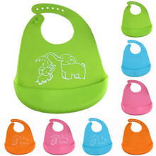 PUDCOCO bebé de silicona Baberos de bebé Crumb Catcher Wipeable impermeable bolsillo Baberos(China)
