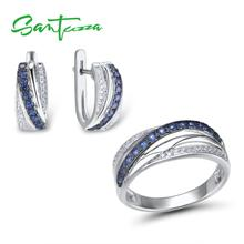 SANTUZZA Jewelry Set For Women Pure 925 Sterling Silver Blue White Cubic Zirconia Ring Earrings Set Delicate Fashion Jewelry cheap 925 Sterling GDTC Jewelry Sets TRENDY Party ROUND Fine Earring Ring 100 925 Sterling Silver White Rhodium Plated Blue Nano Cubic Zirconia White Cubic Zirconia