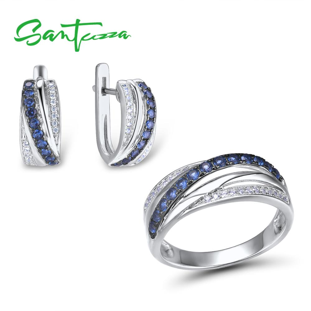 SANTUZZA Jewelry Set For Women Pure 925 Sterling Silver Blue White Cubic Zirconia Ring Earrings Set Delicate Fashion Jewelry