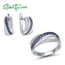 SANTUZZA zestaw biżuterii dla kobiet czysta 925 Sterling Silver niebieski biały cyrkonia pierścionek kolczyki zestaw delikatne biżuteria