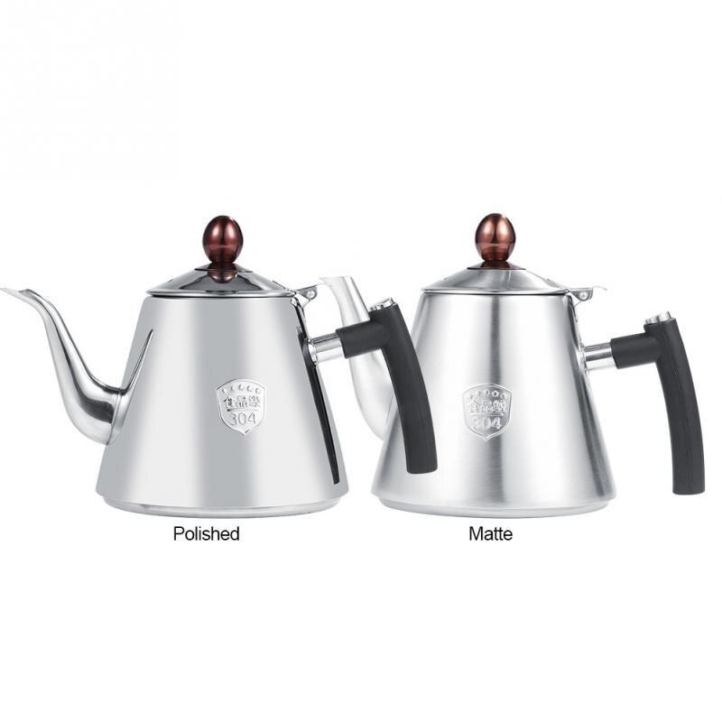 1.2l Teapot Coffee Tea Kettles Sliver Cold Water Pot Kettle Whistling Tea Boiler Induction Home Kitchen Helper