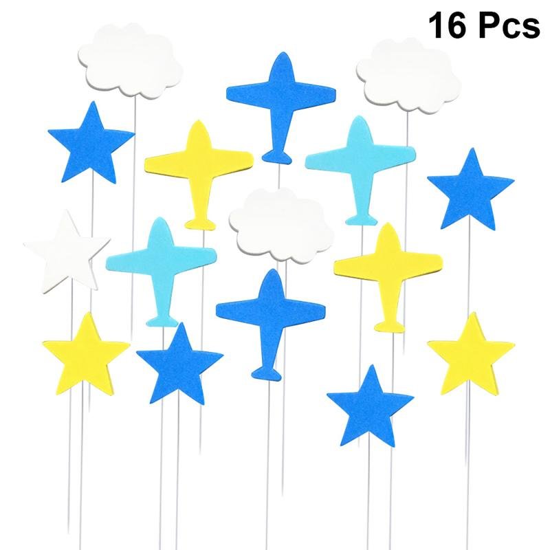 16pcs White Cloud Star Airplanes Cupcake Toppers Happy Birthday Cake Decorations for Party Birthday Party Baby Shower Decoration image