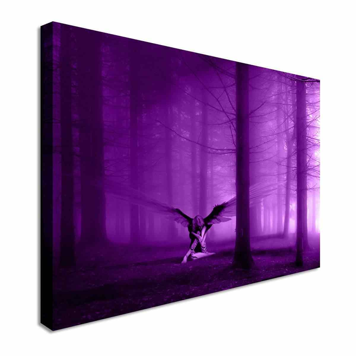 Purple Angel In The Woods Wings Wall Art Canvas Prints Pictures Creatives Paintings On The Wall Unframed For Living Room Decor