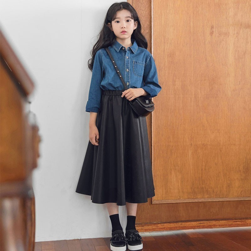Pu Leather Teenage Girls Skirts For School Black Toddler Skirt Kids Long A Line Spring Autumn 2019 Mother And Daughter Clothes