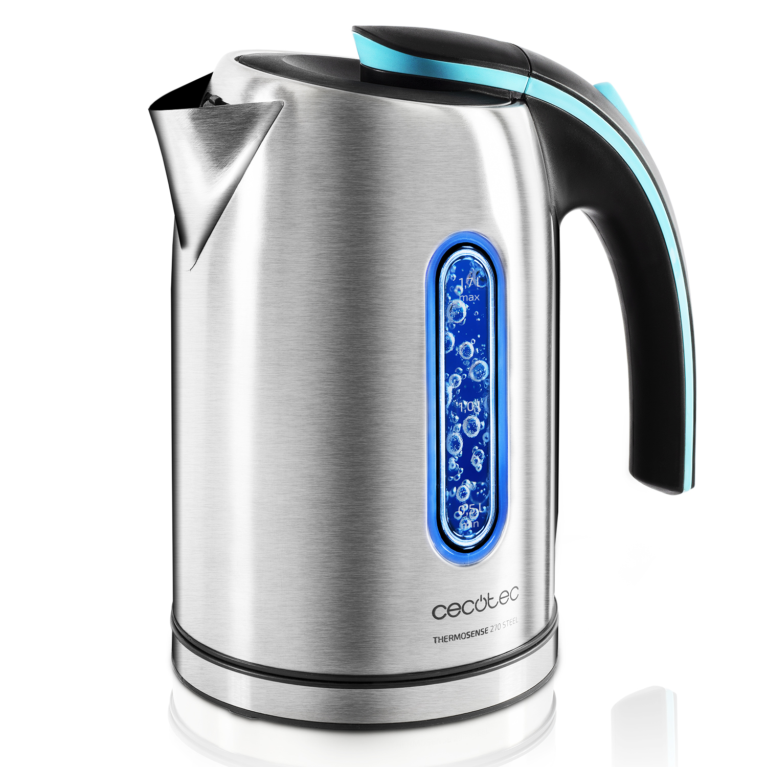 Cecotec ThermoSense 270 Steel Electric Kettle Heats Up To 8 Cups Water 1,7L Capacity 2200W Double Protection System With Filter