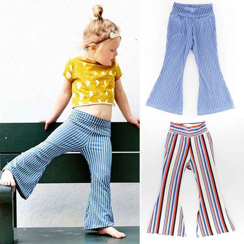 Pantalones Acampanados De Pierna Ancha Para Ninos Mallas Pantalones A Rayas 1 6 Anos Novedad De 2019 Pantalones Aliexpress