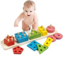 Montessori DIY Building Blocks Toy Smart Wooden Geometric Shape Stacking Kids Educational Play