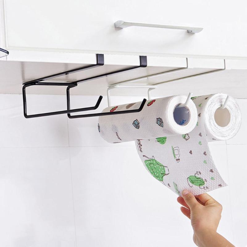 Portable Shelf Hanging Hooks Toilet Paper Hook Holder Kitchen Paper Towel Sundries Storage Hook Type Rack Holder Home Organizer