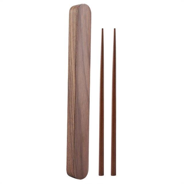 Home Eco-friendly Natural Bamboo Wood Wooden Reusable Chopsticks Sushi Food Stick Chopsticks Storage Case Box Set Home Portable 1