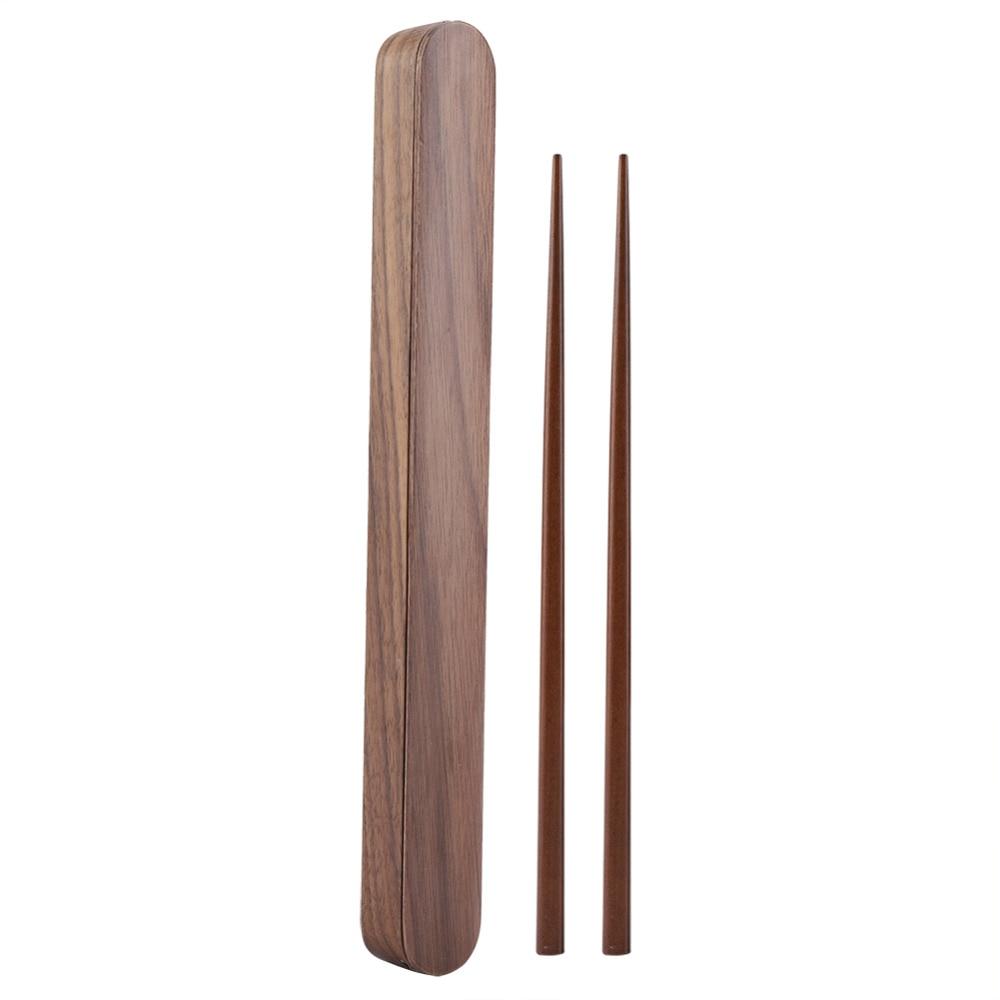 Home Eco-friendly Natural Bamboo Wood Wooden Reusable Chopsticks Sushi Food Stick Chopsticks Storage Case Box Set Home Portable