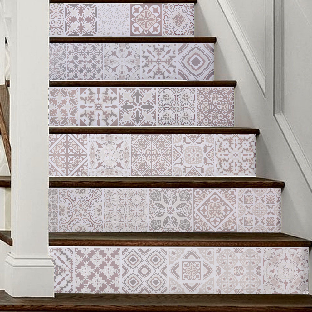 3d Arabia Europe Pattern Tile Wall Stairs Stickers Pvc Removable Waterproof Wallpaper Ceramic Mural Poster For Home Stair Decor