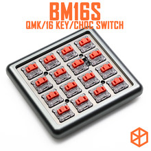 Bm16s teclado mecânico personalizado, 16 teclas, placa pcb programada numpad, firmware qmk com rgb, interruptor, leds choc switch