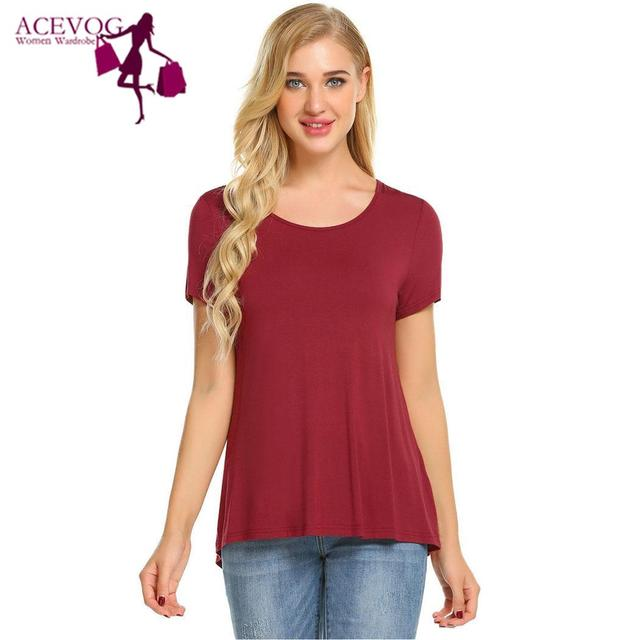 ACEVOG Women T-Shirts Tops Spring Autumn Loose Short Asymmetrical Tshirt O-Neck Hem Solid Sleeve Women Casual Pullovers