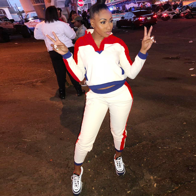 2ed9043e8a4f Women TWO PIECE SET Top Pullover Tracksuit CONTRAST Color Block Jogger Pants  Leisure Sweat Suit Female