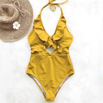 Ruffle Swimsuit Women Backless Swimwear Women One Piece Swimsuit Padded Bathing Suit Ladies Beachwear Monokini Maillot De Bain 5