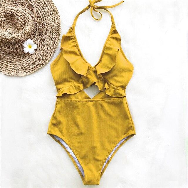 Ruffle Swimsuit Women Backless Swimwear Women One Piece Swimsuit Padded Bathing Suit Ladies Beachwear Monokini Maillot De Bain 8