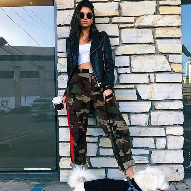 CAMOUFLAGE   PANTS     CAPRI   High Waist Joggers Women Baggy CARGO   PANTS   Side Stripe Trousers ARMY Green Print Hip Hop Streetwear Tide