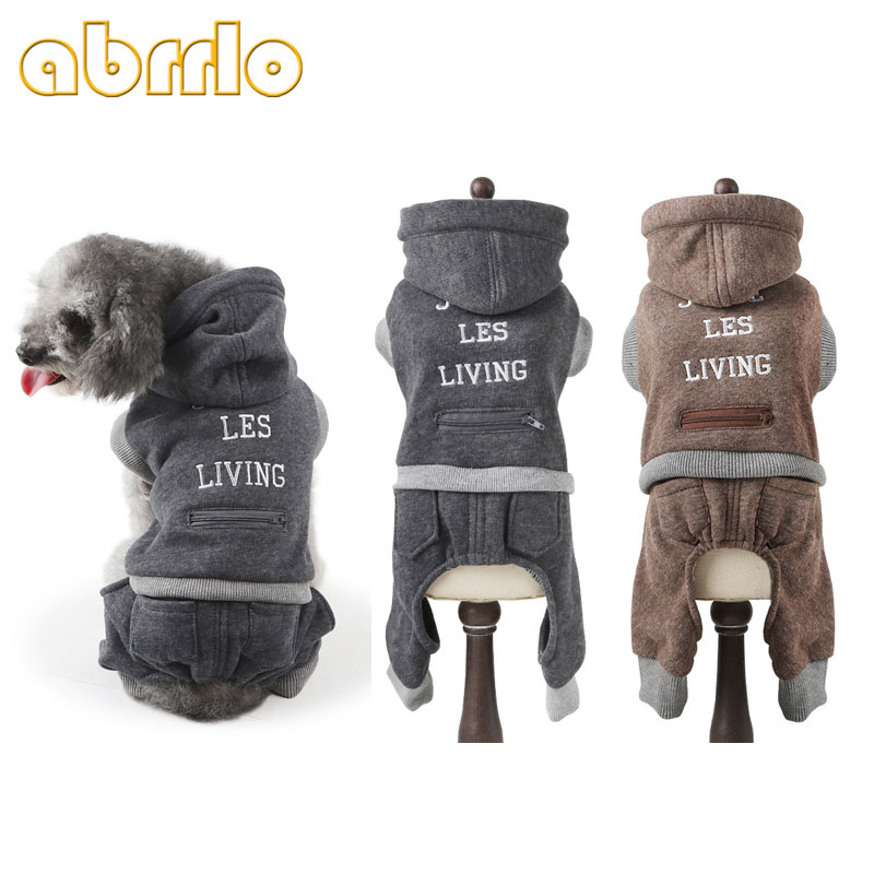 Abrrlo Dog Winter Clothes Plus Velvet Warm Dog Jumpsuit Overalls Puppy Winter Soft Rompers Hoodies For Small Dogs Chihuahua S XL
