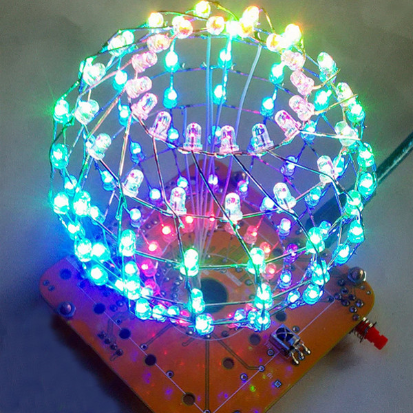 Leory Diy Colored Ball Electronic Kit 3d Led Light Cube Kit 16x9 Led Music Spectrum Diy For Dac Mp3 For Diy Welding Enthusiast Consumer Electronics Accessories & Parts