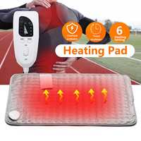 6 Heating Setting Electric Thermal Therapy Heated Pad Neck Back Pain Body Relief Soft Fabric Grey Timer US/UK Plug 75W Safe Cosy