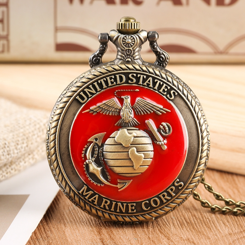 United State Marine Corps Theme Necklace Quartz Pocket Watch Fashion Red Souvenir Pendant Chain Military Watch Top Gifts For Men