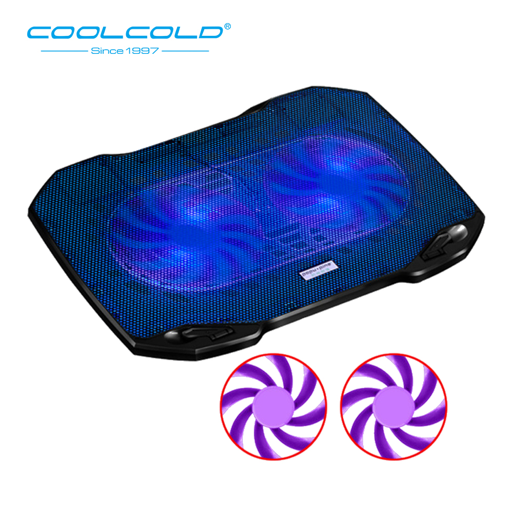 COOLCOLD Dual Fan Notebook Cooler Cooling Pad USB Powered 5V Laptop Fan Cooler USB Cooling Fan Stand For 11'' 15.6'' Laptop