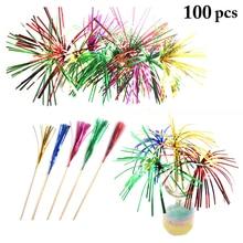 100PCS One-Time Creative Color Fireworks Sign Fruit Fork Cake Plate Decoration Hotel KTV Bar Party Wine