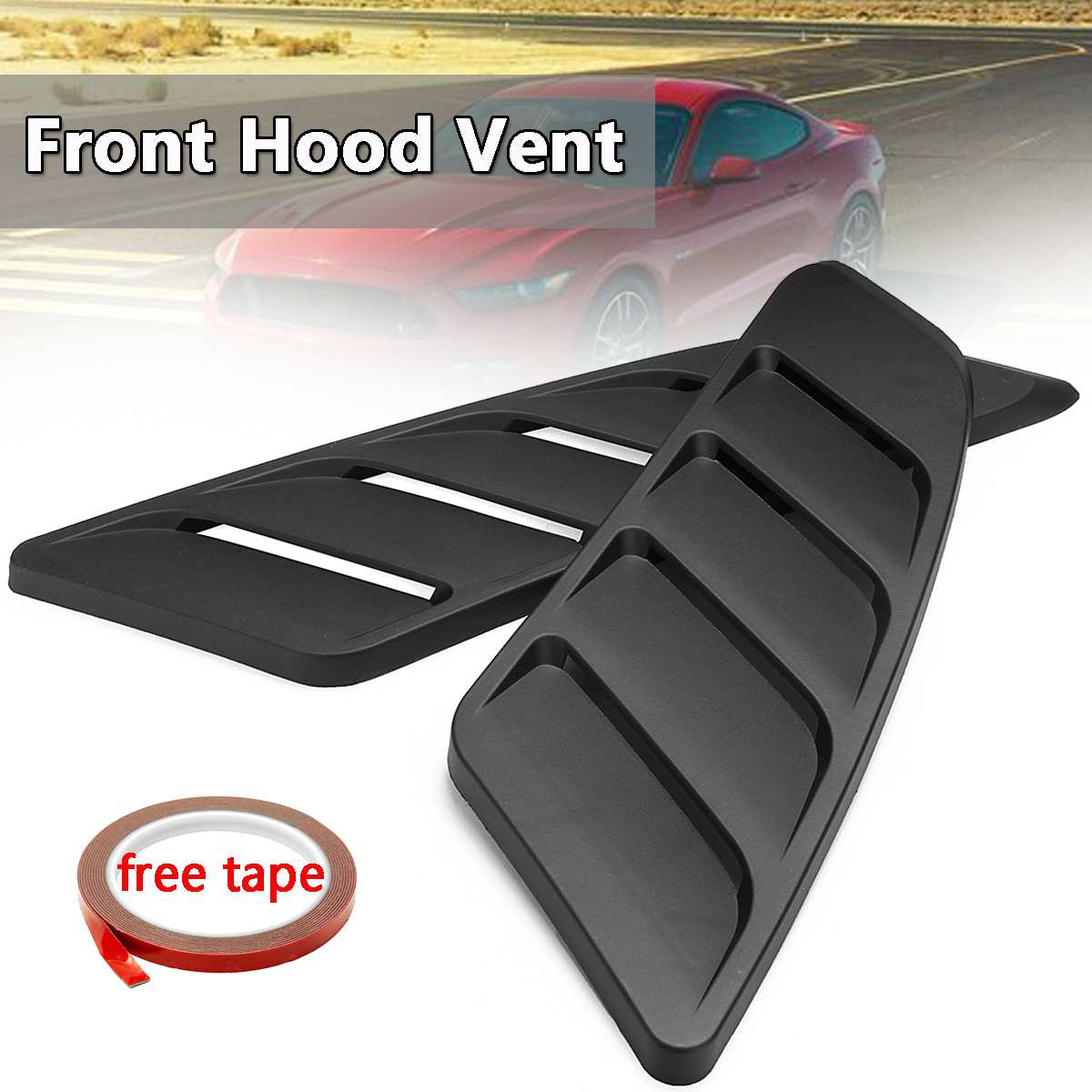 2x Universal Car Air Intake Scoop Bonnet Hood Vent Front Hood Vent For 2015 2017 For Ford For Mustang Panel Trim Black