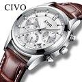 Мужские часы CIVO  водонепроницаемые аналоговые кварцевые часы из натуральной кожи с календарем  2019